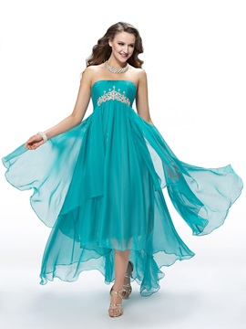 Buy A-Line Asymmetrical Sweep Train Crystal Prom Dress Designed