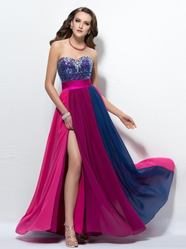 Sweetheart Split-Front Beading Sequins Prom Dress