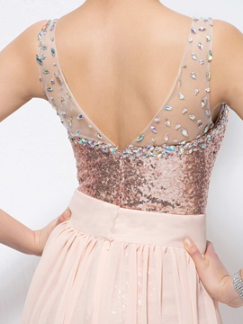 Fashion Straps V-Neck Beading Sequins Split-Front Prom Dress