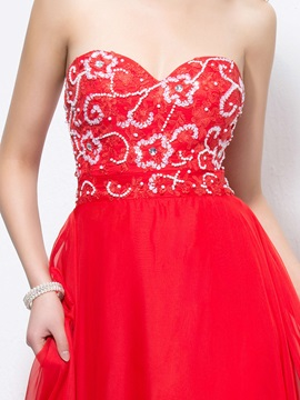 Stunning Sweetheart A-Line Sequins Appliques Floor-Length Prom Dress