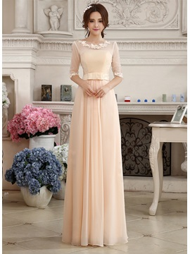 Charming Lace Appliques Half Sleeves Zipper-up Floor-Length Prom Dress