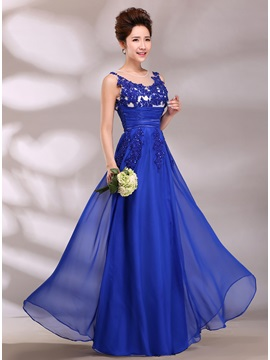 Graceful Tulle Neckline Appliques Empire Waistline A-Line Long Prom Dress
