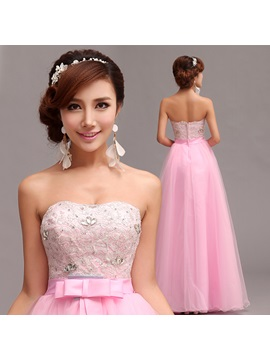 Superior A-Line Sweetheart Lace Beading Bowknot Floor-Length Prom Dress