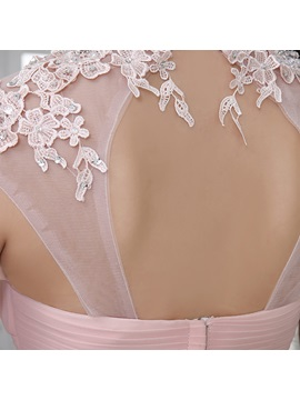 Delicate A-Line High Neckline Ruched Appliques Beading Long Prom Dress
