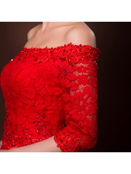 Fancy Off-the-Shoulder A-Line Lace Beading Half Sleeves Lace-up Asymmetrical Prom Dress