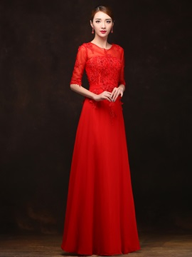 Fancy Scoop Neck Appliques Pearls Half Sleeves A-Line Long Prom Dress
