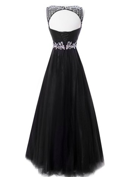 Bateau Neck Beaded Crystal Backless Evening Dress