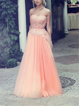 Fancy Sweetheart Appliques Beaded A-Line Long Prom Dress
