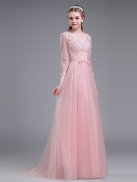 Dramatic V-Neck 3/4-Length Sleeve Appliques Long Prom Dress