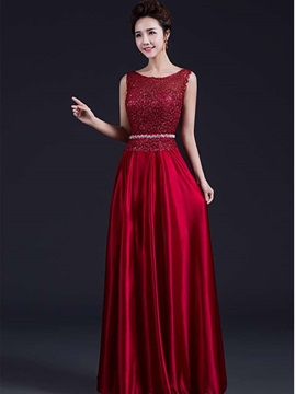 Pretty Scoop Neck Sequins Lace Prom Dress