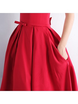 Scoop Bowknot Pockets Tea-Length Prom Dress