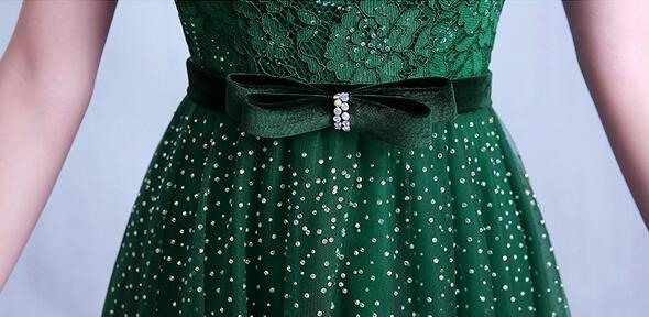 Luxury Short Sleeves Beading Bowknot A-Line Long Prom Dress