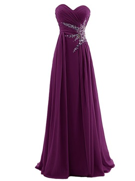 Buy A-Line Sweetheart Pleats Beading Prom Dress