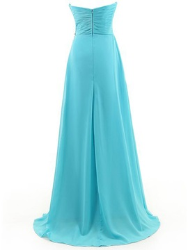 A-Line Sweetheart Pleats Beading Prom Dress