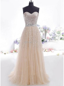 Shining Sweetheart A-Line Sequins Prom Dress