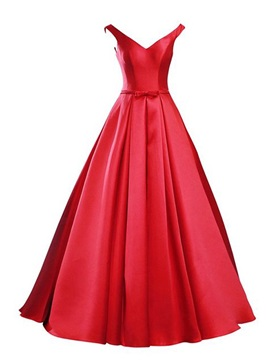 Simple V-Neck Bowknot Lace-Up Red Prom Dress