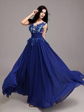 Modern Straps Sequins Appliques A-Line Long Prom Dress