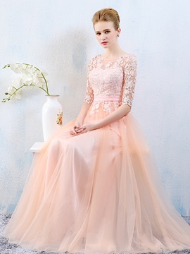 Fancy Scoop Neck Half Sleeves Appliques Prom Dress
