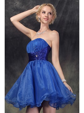 Strapless Sequins Beading Pleats Short Nastye's Prom/ 16 Dress
