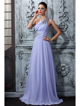 Elegant One-Shoulder A-Line Floor-Length Brush Train Beading Polina's Evening Dress