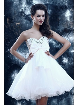 A-Line Sweetheart Bowknot Beading Sweet 16 Dress