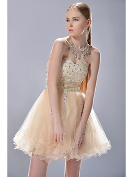 New Style A-Line Sweetheart Mini/Short Beading Sweet 16 Dress