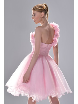 Gorgeous A-Line One-Shoulder Mini-Length Ruched Flowers Prom/Homecoming Dress
