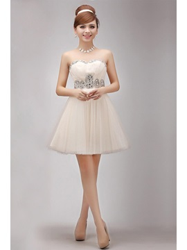 Cute A-Line Sweetheart Mini/Short-Length Beaded Homecoming/Sweet 16 Dress