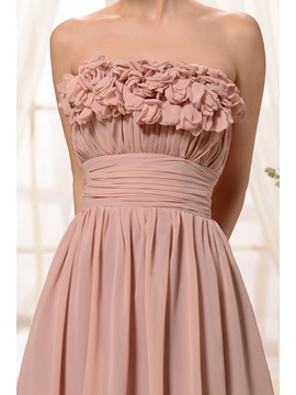 Cute Ruffles Flowers A-Line Strapless Knee-length Sweet 16 Dress