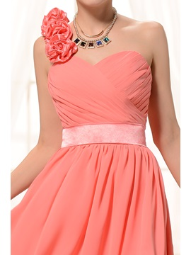Delicate Flowers One-Shoulder Knee-length Homecoming Dress