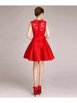 Chic A-Line Lace Bowknot Sequins Short-Length Sweet 16/Prom Dress