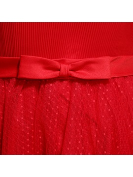 Lovely Bowknot Short Sleeves Lace-up Knee-Length A-Line Sweet 16 Dress