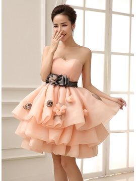 Loveable Sweetheart Bowknot Flowers Tiered Short-Length Sweet 16 Dress