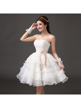 Cute Lace Bowknot Tiered A-Line Short Lace-up Homecoming/ 16 Dress