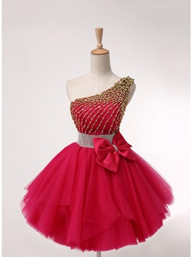 One-Shoulder Plears Beading Bowknot Homecoming Dress