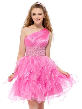 Cute One-Shoulder Beading Tiered A-Line Short Homecoming Dress & unique Sweet 16