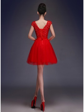 Fine V-Neck Straps Lace Beading Lace-up Bowknot Short Sweet 16 Dress