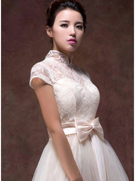 Vigorous High Neck Lace Bowknot Short Sleeves Short Sweet 16 Dress