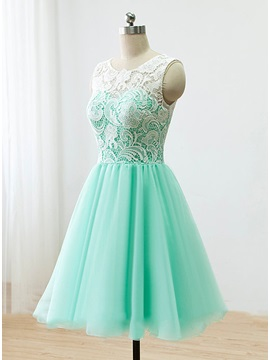 Hot Sale Scoop Neck Button Short Lace Prom Dress