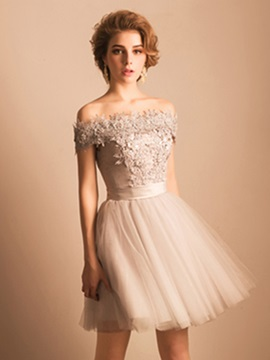 Off the Shoulder Appliques Pearls Lace Homecoming Dress & Sweet 16 on sale