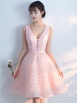 Charming A-Line Bowknot Lace V-Neck Sashes Knee-Length Homecoming Dress & Sweet 16 from china