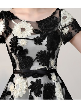 Elegant Scoop A-Line Cap Sleeves Bowknot Sashes Flowers Mini Homecoming Dress