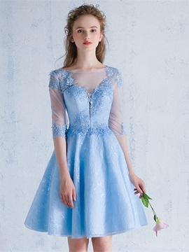 Exquisite Half Sleeves Appliques A-Line Lace Bateau Mini Homecoming Dress