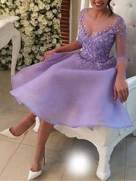 Fancy V-Neck 3/4 Length Sleeves A-Line Appliques Beading Flowers Homecoming Dress & petite Sweet 16