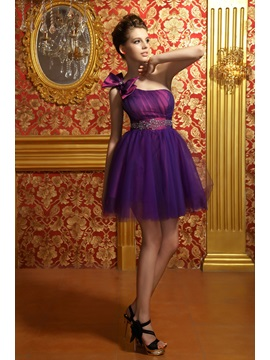 One-Shoulder Empire Waist Beaded Bowknot Anita's Sweet 16 Dress