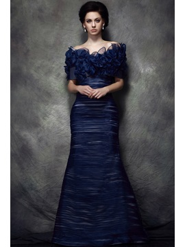 Gorgeous Strapless Ruched Trumpet Floor-length Polina's Mother of the Bride Dress With Jacket/Shawl