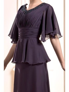 Beaded V-Neck Sleeves Mother of the Bride Dress
