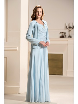 Elegant A-Line Sweetheart Dropped Waist Sleeveless Floor-Length Mother of the Bride Dress With Jacket/Shawl