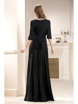 Bright A-Line Floor-Length V-Neck 3/4-Sleeves Mother of the Bride Dress