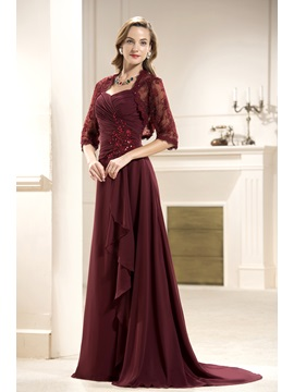 Lace Ruffles A-Line Sweetheart Floor-Length Mother of the Bride Dress